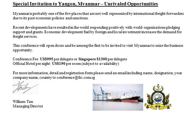 7th myanmar business conference in yangon for freight forwarders all visitors need to apply for visa an invitation letter will be send you as delegate to the conference after full conference fee is received stopboris Choice Image